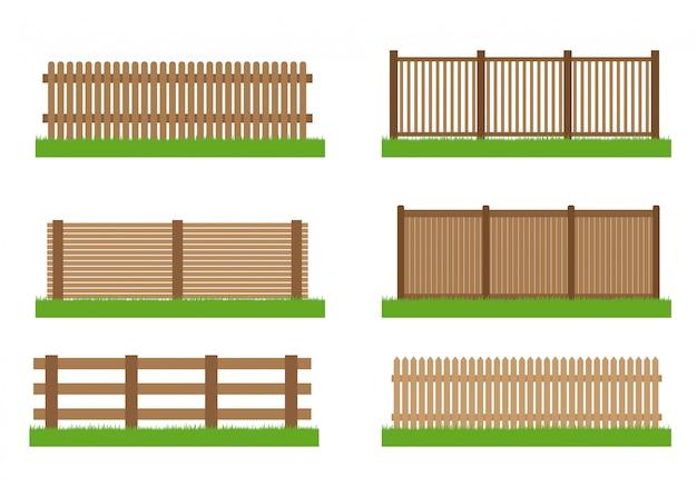 Collectie van houten schutting set