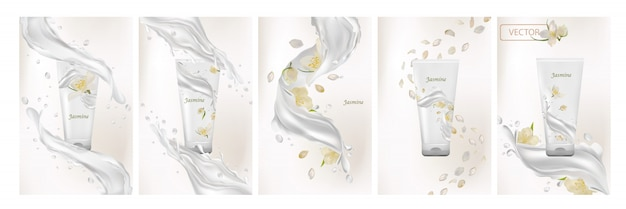 Collectie van jasmijncrème. melk splash met bloem jasmijn. 3d-realistische afbeelding instellen