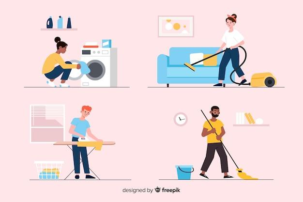 Collectie van jonge mensen die het huis schoonmaken