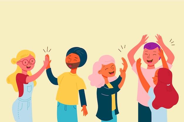 Collectie van jonge mensen hand zwaaien