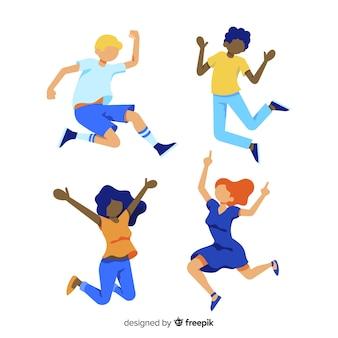 Collectie van jonge mensen springen