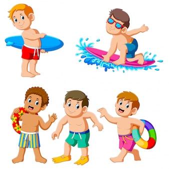 Collectie van jongen op zomervakantie