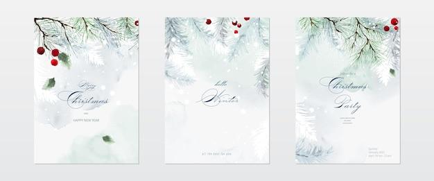 Collectie van kerst aquarel natuurlijke kunst achtergrond set. hulstbladeren en takken op sneeuw die vallen met handgeschilderde aquarel. geschikt voor kaartenontwerp, nieuwjaarsuitnodigingen.