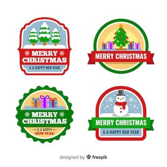 Collectie van kerst badge in plat ontwerp
