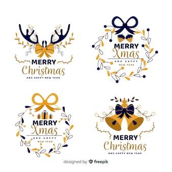 Collectie van kerst badge in platte ontwerp