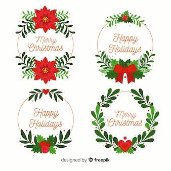 Collectie van kerst bloem & krans in plat ontwerp