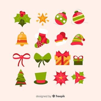 Collectie van kerst decoratie plat ontwerp