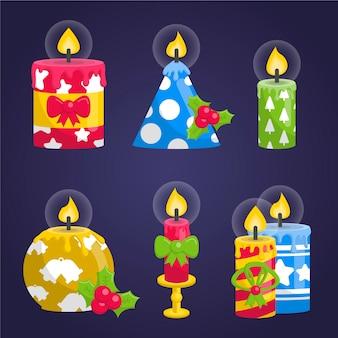 Collectie van kerst kaars in plat design