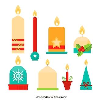 Collectie van kerst kaarsen in platte ontwerp