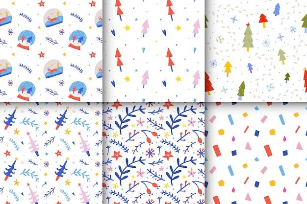 Collectie van kerst naadloze patronen