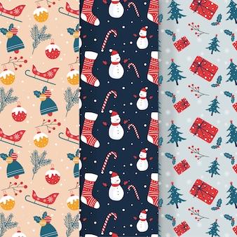 Collectie van kerst patroon in platte ontwerp
