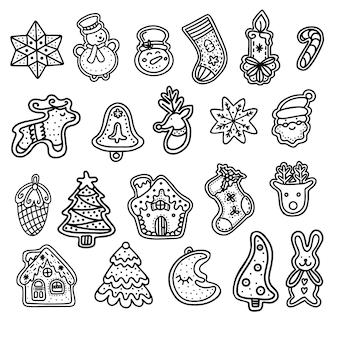 Collectie van kerst peperkoek. vectorillustratie in doodle-stijl