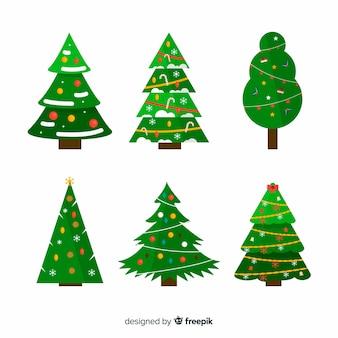 Collectie van kerstboom in platte ontwerp
