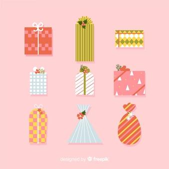 Collectie van kerstcadeau in plat ontwerp
