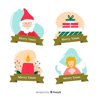 Collectie van kerstlabel in plat ontwerp