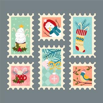 Collectie van kerstzegel in plat ontwerp