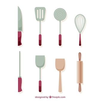 Collectie van keukenvoorwerpen in vlakke vormgeving