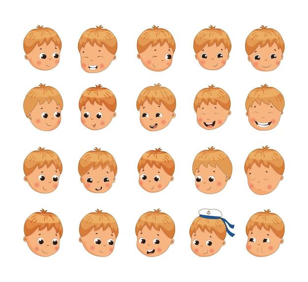 Collectie van kind avatars met verschillende emoties. leuk jongenskarakter.