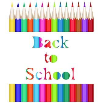 Collectie van kleurpotloden. de gebeeldhouwde inscriptie back to school. vectorillustratie van 1 september