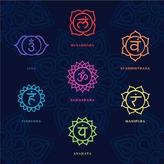 Collectie van kleurrijke chakra's