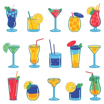 Collectie van kleurrijke cocktails geïsoleerd op een witte achtergrond. vectorillustratie in vlakke stijl.