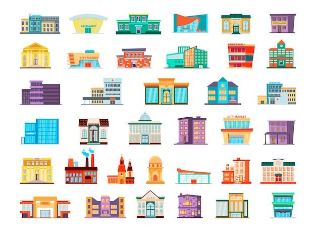 Collectie van kleurrijke gebouwen in vlakke stijl. stadsgebouwen en structuren.