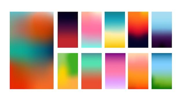 Collectie van kleurrijke gladde mesh verloop achtergrond voor grafisch ontwerp. vector illustratie. Premium Vector