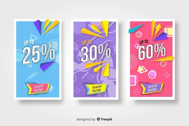 Collectie van kleurrijke memphis verkoop banners