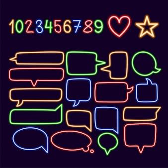 Collectie van kleurrijke neon tekstballonnen met ruimte voor tekst