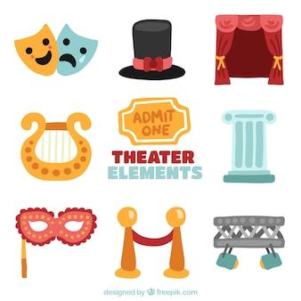Collectie van kleurrijke objecten voor theater
