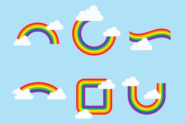Collectie van kleurrijke regenbogen met wolken