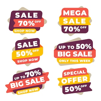 Collectie van kleurrijke verkoopbanners