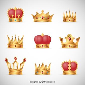 Collectie van koninklijke kronen