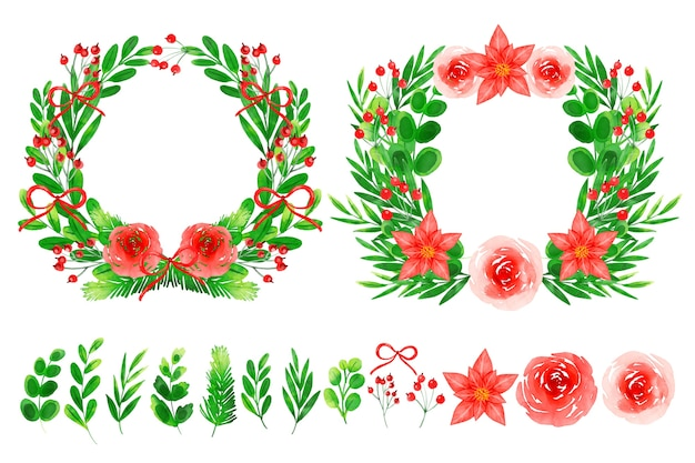 Collectie van krans en kerst bloemen