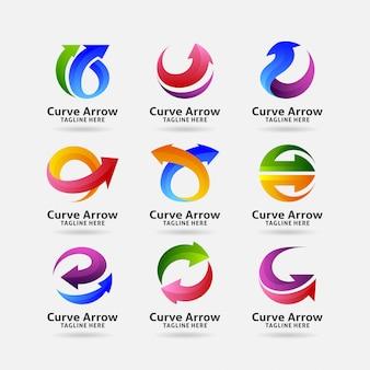 Collectie van kromme pijl logo
