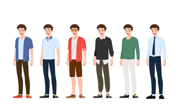 Collectie van lachende knappe jonge man in verschillende modieuze kleding stijl staande geïsoleerd op een witte achtergrond. set jongens die verschillende trendy kleding voor straatkleding voor tieners dragen.