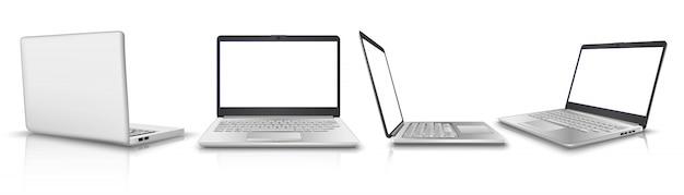 Collectie van laptop in zij-, voor-, achteraanzicht. illustratie