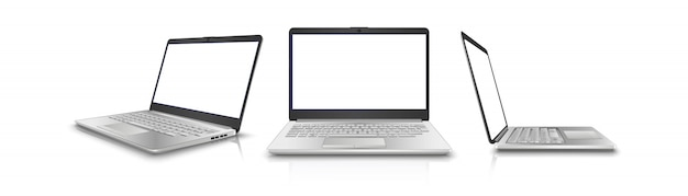Collectie van laptop in zij-, voorkant en 3/4 bekijken. geïsoleerd op een witte achtergrond. perfect voor uw advertentie.