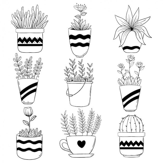 Collectie van lentebloem in pot met hand getrokken of schets stijl