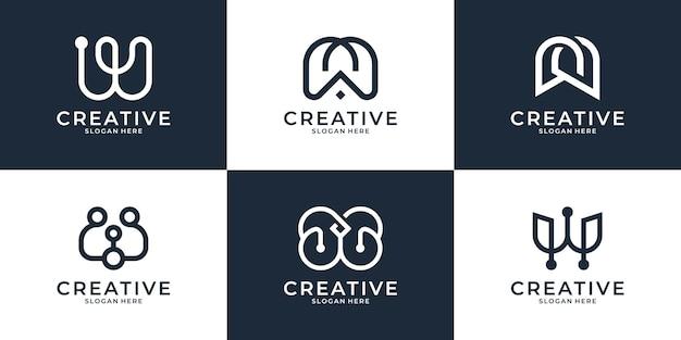 Collectie van letter w logo ontwerpsjabloon.