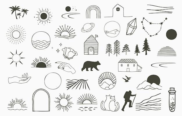 Collectie van lijnontwerp met zon, boom. bewerkbare vectorillustratie voor website, sticker, tatoeage, pictogram