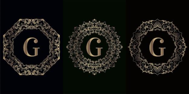 Collectie van logo eerste g met luxe mandala ornament frame