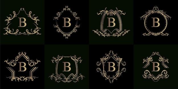 Collectie van logo initiaal b met luxe ornament of bloemenlijst