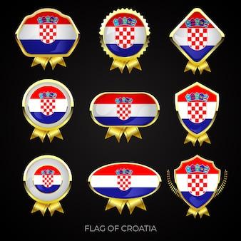Collectie van luxe gouden vlag badges van kroatië