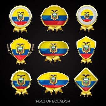 Collectie van luxe gouden vlag van ecuador