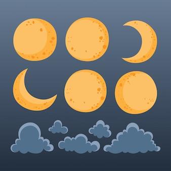 Collectie van maan en wolken voor de nachtelijke hemel.