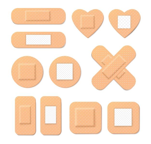 Collectie van medische pleisters in cartoon-stijl. illustratie van medische pleister, elastische verbandpleisters van verschillende vormen.
