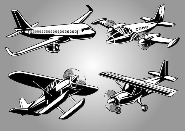Collectie van modern vliegtuig