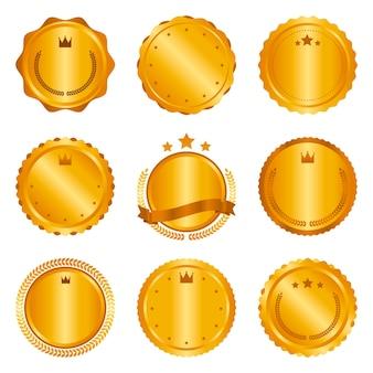 Collectie van moderne, gouden cirkel metalen badges, labels en ontwerpelementen. vector illustratie.