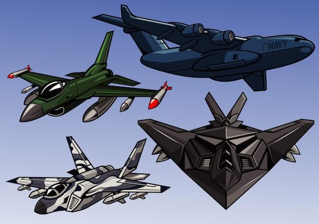 Collectie van moderne militaire vliegtuigen